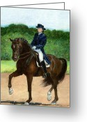Bay Horse Greeting Card Greeting Cards - Dressage Horse Portriat Greeting Card by Olde Time  Mercantile