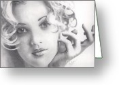 Drew Barrymore Greeting Cards - Drew Barrymore Greeting Card by Karen  Townsend
