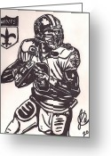Sports Art Drawings Greeting Cards - Drew Brees Greeting Card by Jeremiah Colley