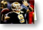 Qb Greeting Cards - Drew Brees New Orleans Saints Greeting Card by Paul Van Scott