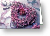 Ribbons Greeting Cards - Dried flower heart wreath Greeting Card by Garry Gay