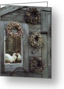 Wreaths Greeting Cards - Dried Flower Wreaths Adorn A Wooden Greeting Card by Bill Curtsinger