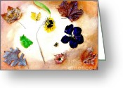 Yellow And Red Greeting Cards - Dried Flowers and Leaves Greeting Card by Marsha Heiken