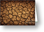 Barren Greeting Cards - Dried Terrain Greeting Card by Carlos Caetano