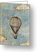 Hot Air Balloon Mixed Media Greeting Cards - Drifting Slowly Greeting Card by Kerri Swayze