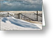 Nauset Beach Greeting Cards - Drifting snow along the beach fences at Nauset Beach in Orleans  Greeting Card by Matt Suess