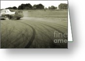 Big Wheel Greeting Cards - DRIFTING TRACKS japanese car drifting round a corner with tyres smoking Greeting Card by Andy Smy