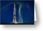 Lights Greeting Cards - Drilling Rig Saskatchewan Greeting Card by Mark Duffy