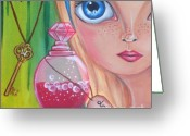 Blonde Girl Greeting Cards - Drink Me Greeting Card by Jaz Higgins