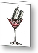Martini Drawings Greeting Cards - Drink To Never Forget Greeting Card by Chris Ortega