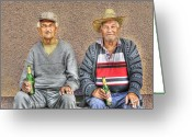Buddies Greeting Cards - Drinking Buddies Greeting Card by Don Wolf
