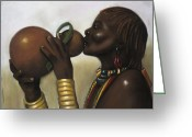 African American Greeting Cards - Drinking Gourd Greeting Card by L Cooper
