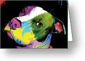 Dog Greeting Cards - Dripful Pitbull Greeting Card by Dean Russo