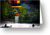 Great Falls Greeting Cards - Dripping Wet  Hot Air Balloons Greeting Card by Bob Orsillo