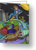Horror Car Greeting Cards - Drive through the Graveyard Greeting Card by Anthony Snyder