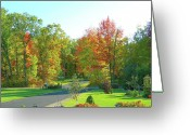 Autumn Scenes Greeting Cards - Driveway Amongst Fall Color Greeting Card by Randy Rosenberger