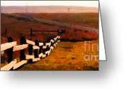 Francis Digital Art Greeting Cards - Driving Down The Lonely Road . Long Version Greeting Card by Wingsdomain Art and Photography