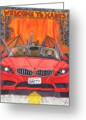 Vampire Painting Greeting Cards - Driving like bats out of hell Greeting Card by Catherine G McElroy