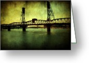 Pdx Greeting Cards - Driving over the Bridge Greeting Card by Cathie Tyler