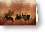 Prairie Greeting Cards - Driving the Herd Greeting Card by Corey Ford