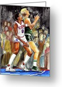 Philadelphia  Drawings Greeting Cards - Dr.J vs. Larry Bird Greeting Card by Dave Olsen