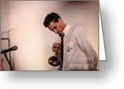 Trumpet Music Greeting Cards - DROID- JOrdan McClean on trumpet Greeting Card by Jim DeLillo