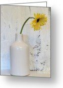 Dk Brown Greeting Cards - Droopy Day Daisy Greeting Card by Marsha Heiken