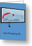Snow Capped Digital Art Greeting Cards - Dropping In Hang Glider Greeting Card by Cindy Wright
