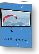 Snow Capped Digital Art Greeting Cards - Dropping In Hang Gliders Greeting Card by Cindy Wright