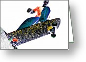 Skate Greeting Cards - Dropping In Greeting Card by Meirion Matthias