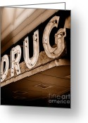 Vintage Signs Greeting Cards - Drug Store Sign - Vintage Downtown Pharmacy Greeting Card by Steven Milner