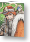 Magic Drawings Greeting Cards - Druid Priest Greeting Card by Amy S Turner