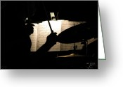Drum Sticks Greeting Cards - Drummer At A Gig Greeting Card by Maurice Beebe