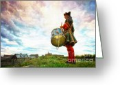 Birthright Greeting Cards - Drummer at the Fortress of Louisbourg Nova Scotia Canada Greeting Card by Shawna Mac