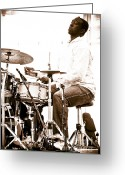 Drum Sticks Greeting Cards - Drummer Larnell Lewis at Sunfest Greeting Card by Gordon Wood