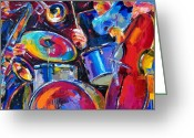 Abstract Music Greeting Cards - Drums And Friends Greeting Card by Debra Hurd