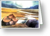 Barren Land Greeting Cards - Dry Lake Greeting Card by Anil Nene