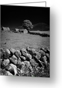 Granite Walls Greeting Cards - Dry Stone Wall Farmland In The Mourne Mountains County Down Northern Ireland Greeting Card by Joe Fox