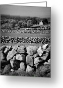 Granite Walls Greeting Cards - Dry Stone Walls Irish Fields Field Boundaries Ireland Greeting Card by Joe Fox