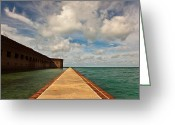 Sea Wall Greeting Cards - Dry Tortugas Sea Wall Greeting Card by Patrick  Flynn