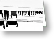 Hanging Greeting Cards - Drying Laundry On Two Clothesline Greeting Card by Massimo Strazzeri Photography