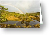 Canon 5d Mk2 Greeting Cards - Dual Rainbow Greeting Card by Frank Olsen