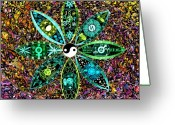Swirls Drawings Greeting Cards - Dualing Eyepposites - Inversion Greeting Card by Dave Migliore