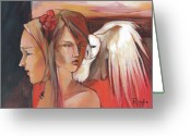 Women Greeting Cards - Duality Greeting Card by Jacque Hudson-Roate