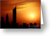 Sheikh Greeting Cards - Dubai city at night Sheikh Zayed road at sunset Greeting Card by Anna Omelchenko