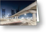 Long Street Greeting Cards - Dubai Cityscape With Bridges At Night Greeting Card by Spreephoto.de