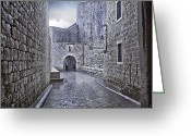 Raining Greeting Cards - Dubrovnik In The Rain - Old City Greeting Card by Madeline Ellis
