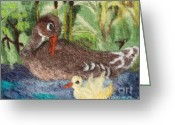 Felted Tapestries - Textiles Greeting Cards - Duck and Duckling Greeting Card by Nicole Besack