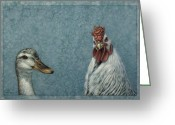 Wildlife Drawings Greeting Cards - Duck Chicken Greeting Card by James W Johnson