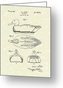Duck Drawings Greeting Cards - Duck Decoy 1952 Patent Art Greeting Card by Prior Art Design